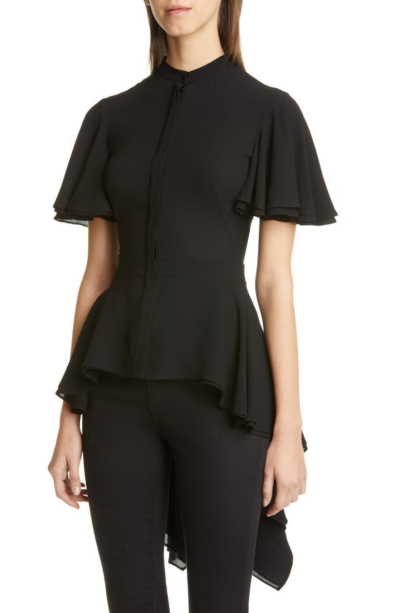 ALEXANDER MCQUEEN Silk High/Low Peplum Blouse, Main, color, BLACK
