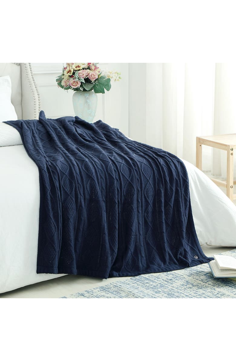 """INSPIRED HOME Cozy Tyme Zaim Cable Knit Throw 50"""" x 60"""" - Navy, Main, color, NAVY"""