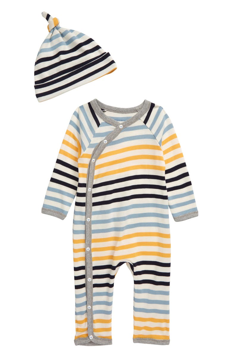 BURT'S BEES BABY Stripe Wrap Organic Cotton Romper & Knotted Hat Set, Main, color, 700