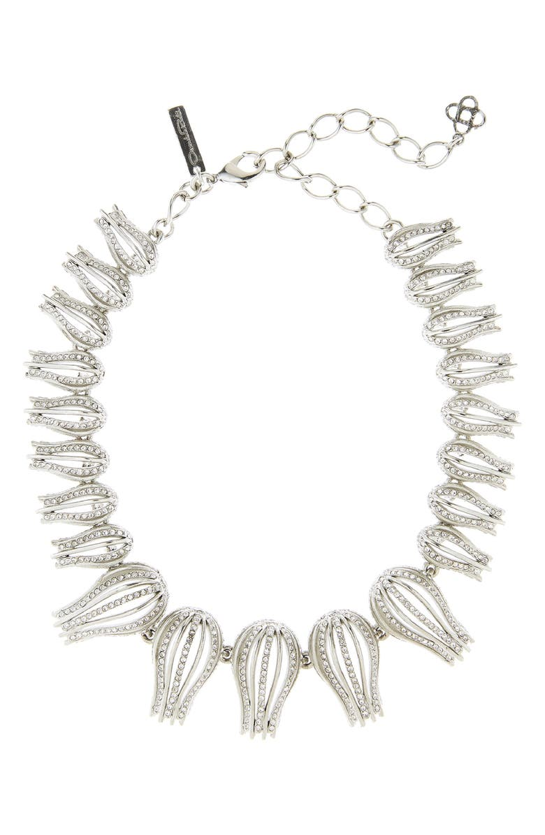 OSCAR DE LA RENTA Pavé Tulip Collar Necklace, Main, color, CRYSTAL
