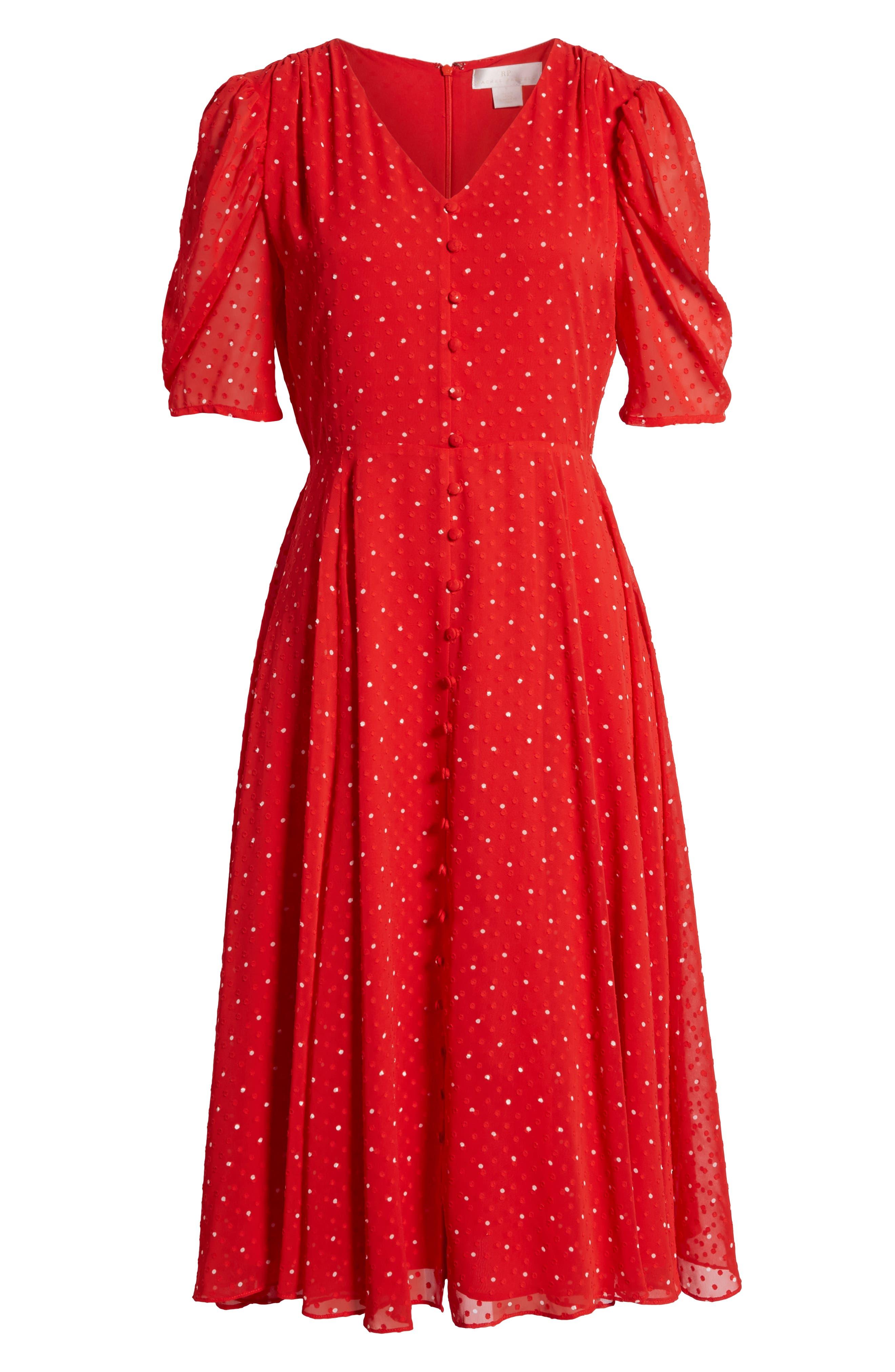 ,                             Chiffon A-Line Dress,                             Alternate thumbnail 7, color,                             RED CHINOISE DOT