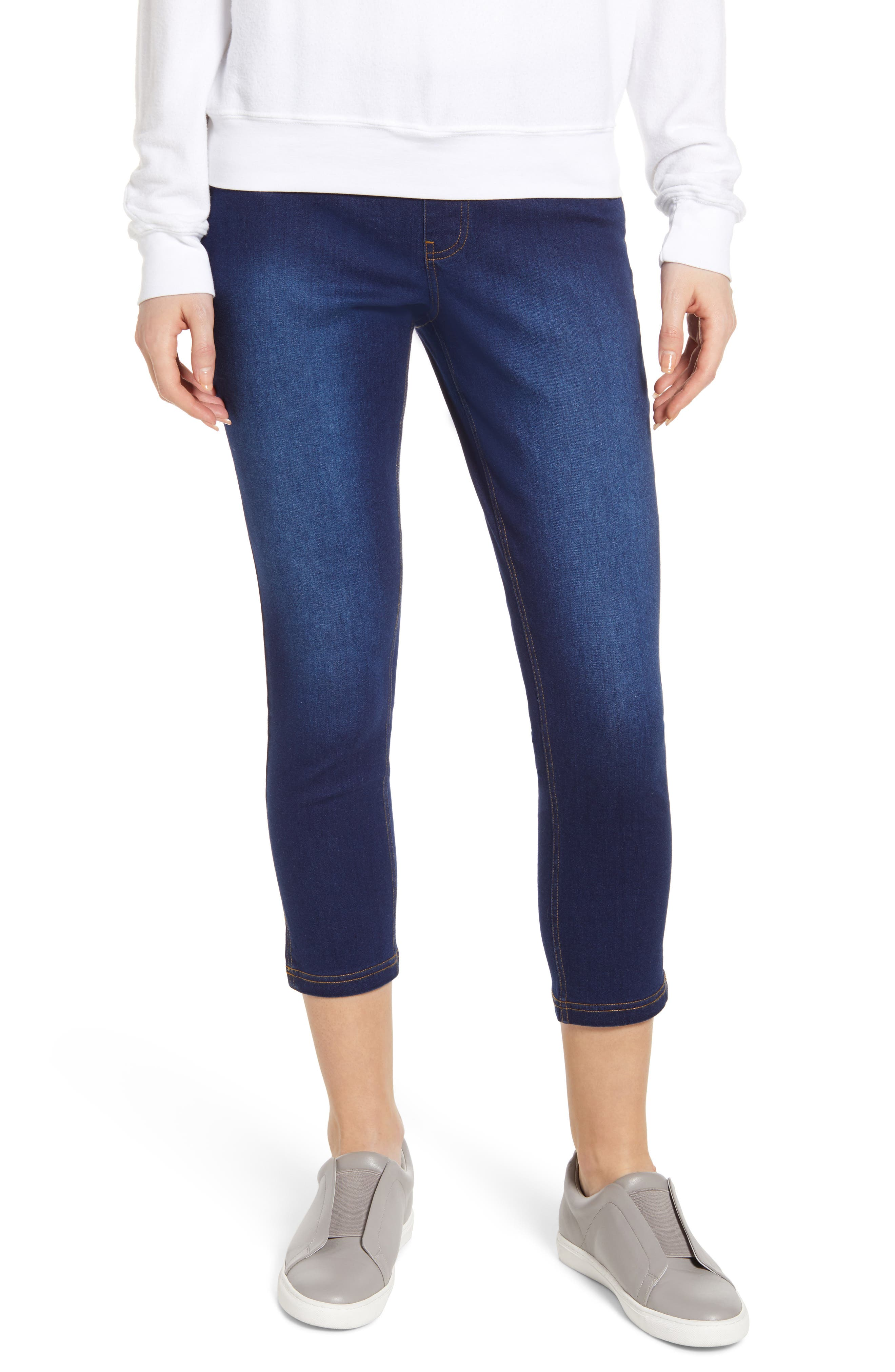 Plus Size Hue Slit Hem Capri Denim Leggings, Blue