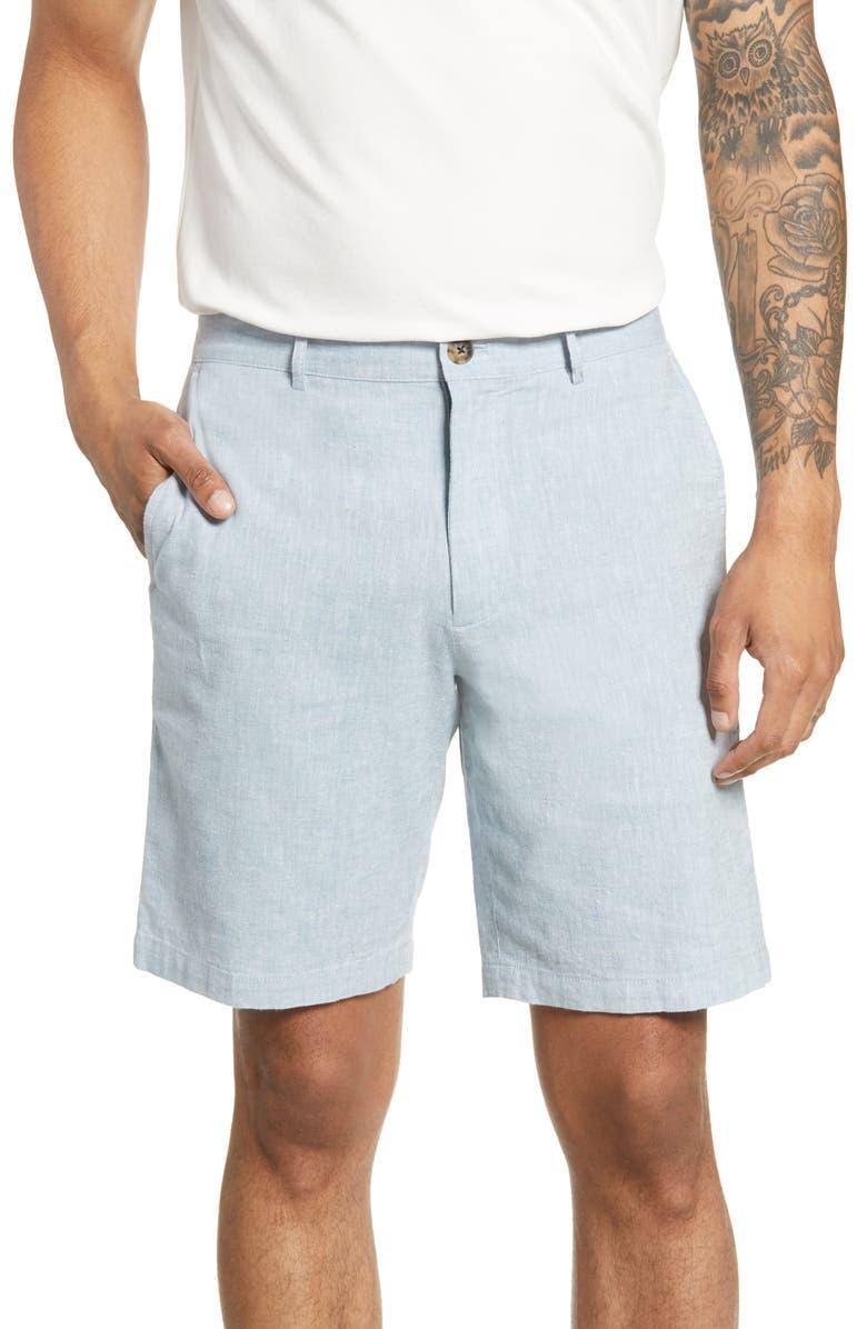 CLUB MONACO Maddox Chambray Shorts, Main, color, SEA BLUE