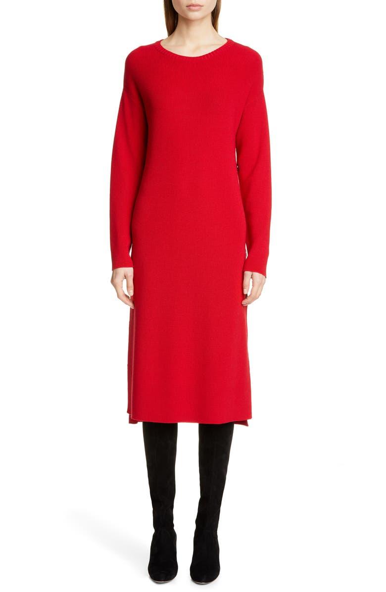 FUZZI Side Button Long Sleeve Midi Sweater Dress, Main, color, 600
