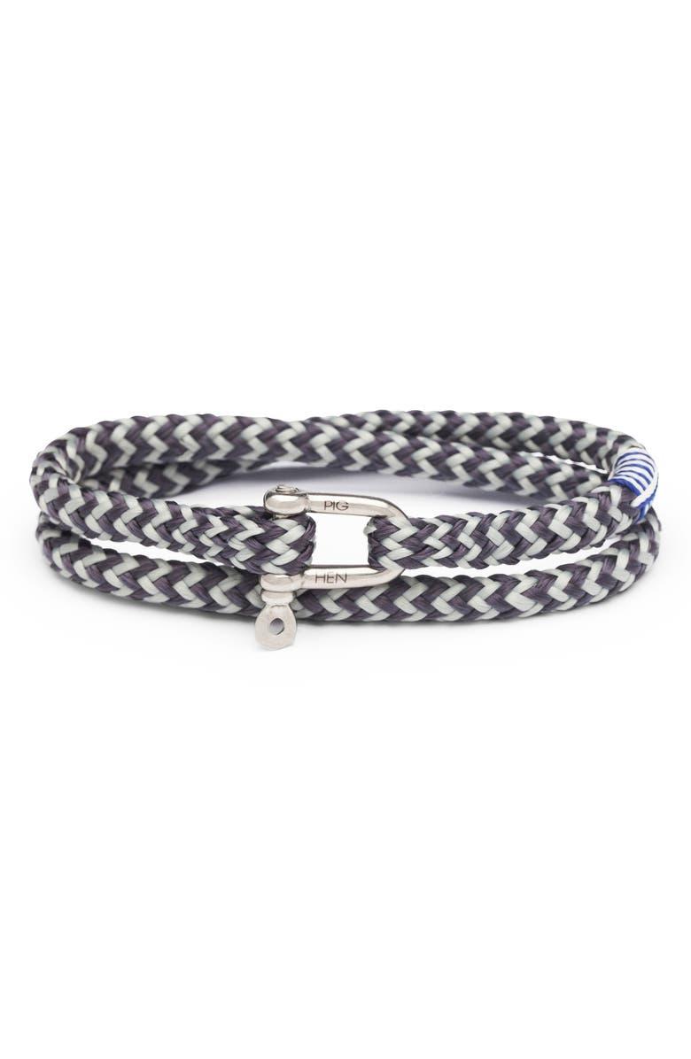PIG & HEN Salty Slim Double Wrap Bracelet, Main, color, LIGHT GRAY / SILVER