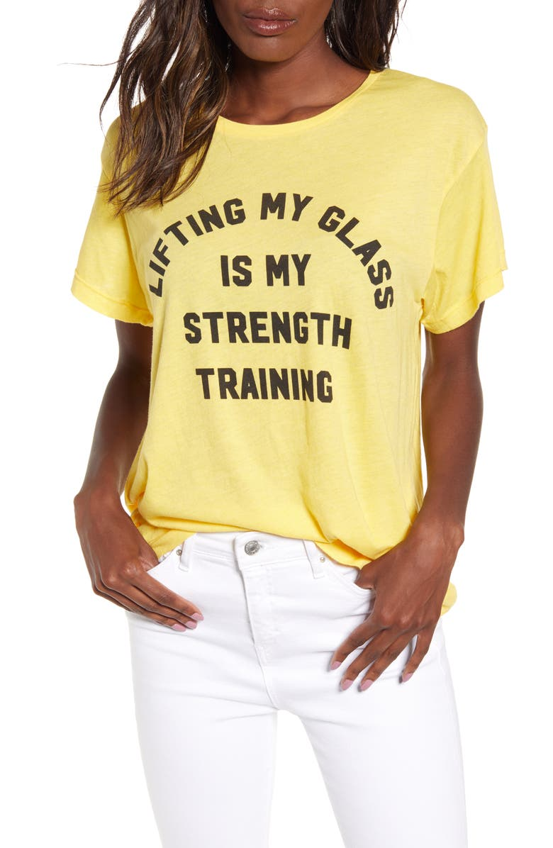 WILDFOX Strength Training Graphic Tee, Main, color, CANARY