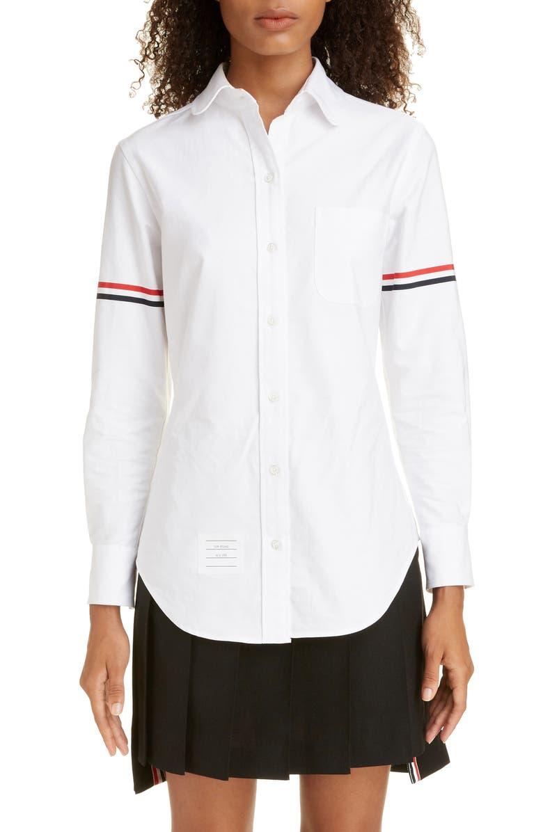THOM BROWNE Grosgrain Band Cotton Poplin Shirt, Main, color, LIGHT PINK