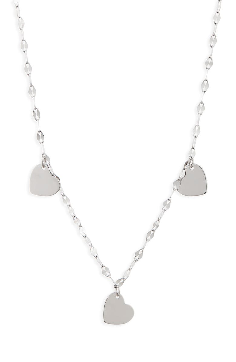 CHARM IT!<SUP>®</SUP> Heart Trio Sterling Silver Necklace, Main, color, SILVER