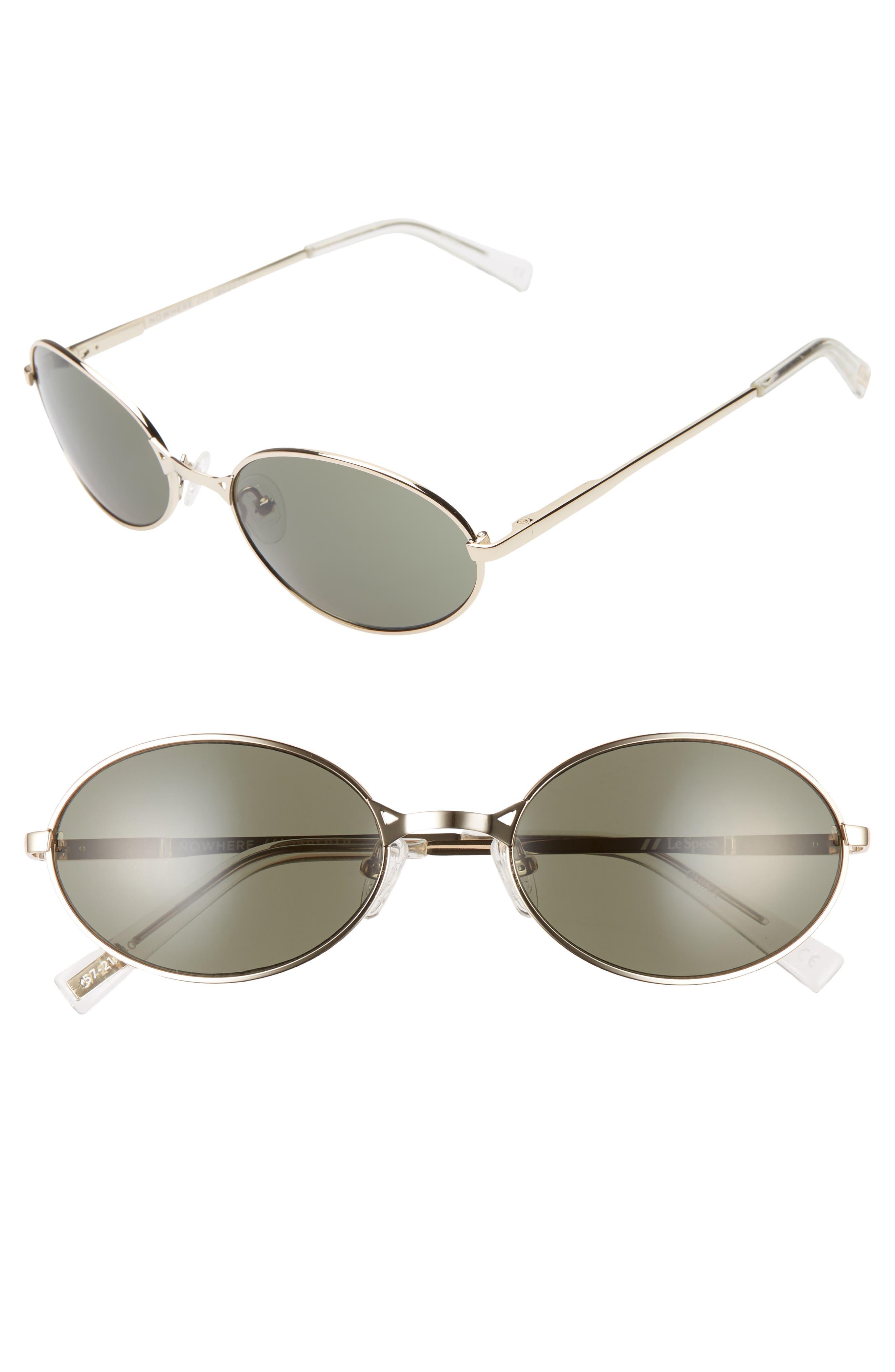 Le Specs Nowhere Rund 57Mm Oval Sunglasses - Gold/ Khaki