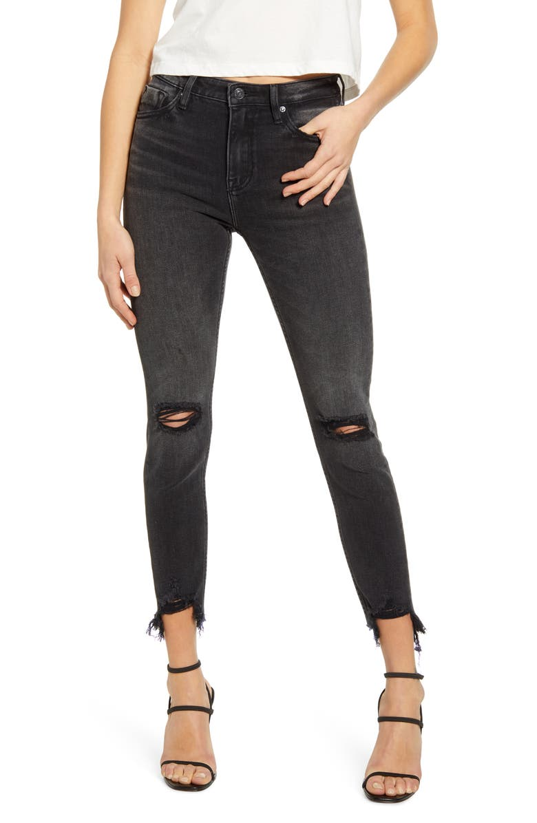 VIGOSS Ace Ripped High Waist Crop Skinny Jeans, Main, color, BLACK