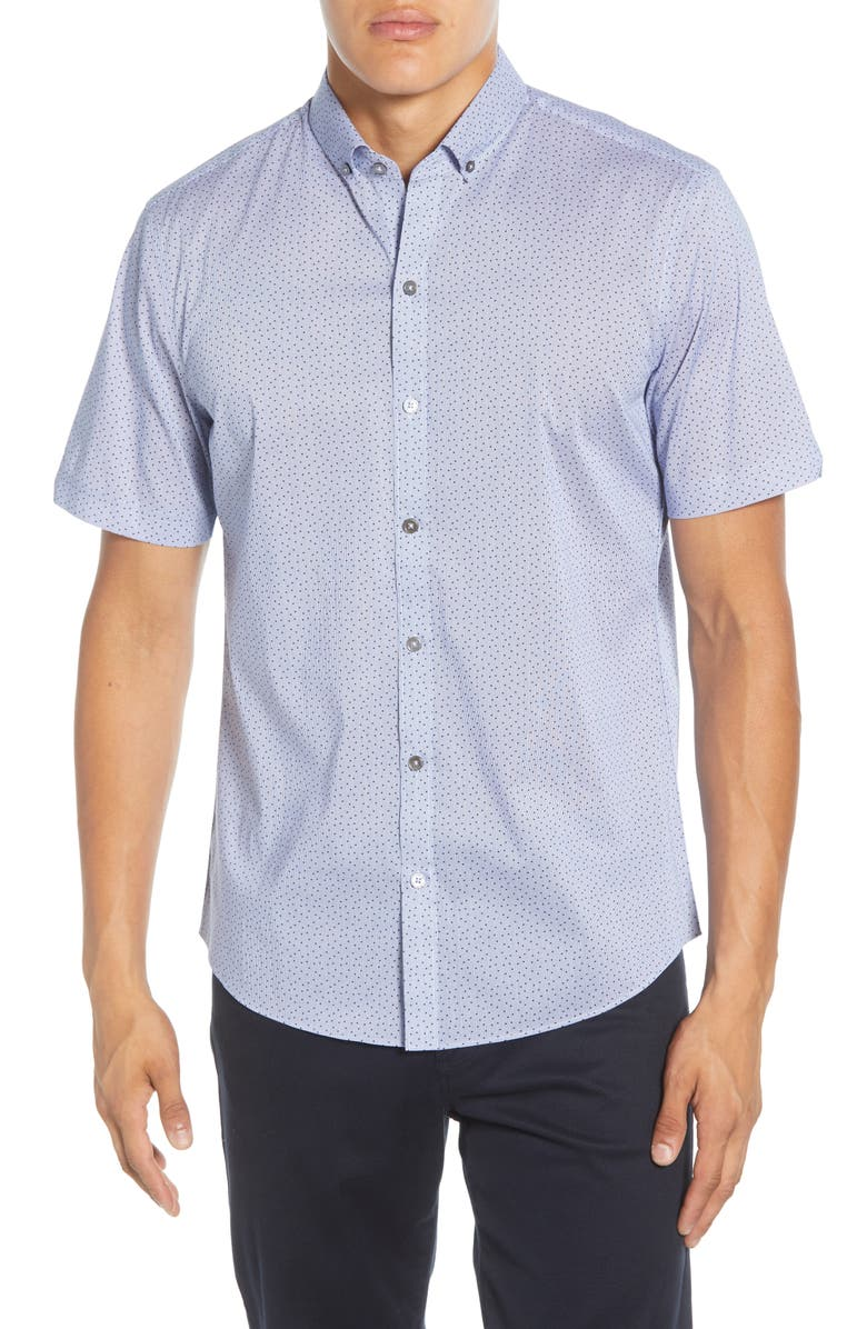 ZACHARY PRELL Edelman Regular Fit Short Sleeve Button-Down Sport Shirt, Main, color, BLUE