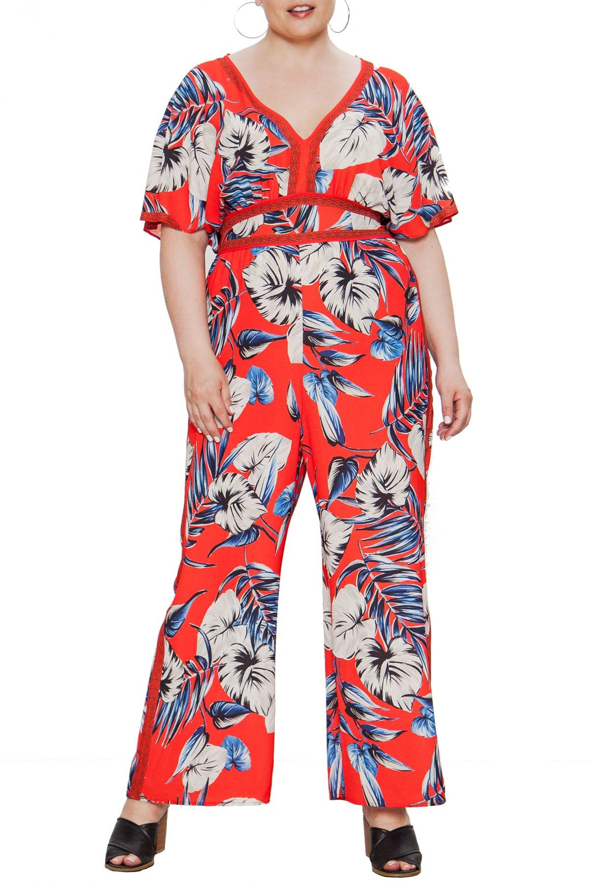 Image of Jealous Tomato Tropical Print Jumpsuit