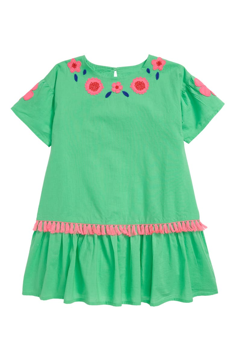 MINI BODEN Tropical Woven Appliqué Dress, Main, color, GRN PARROT GREEN