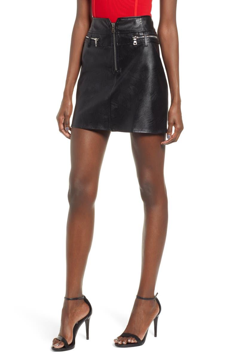 TIGER MIST Lennon Faux Leather Miniskirt, Main, color, 001