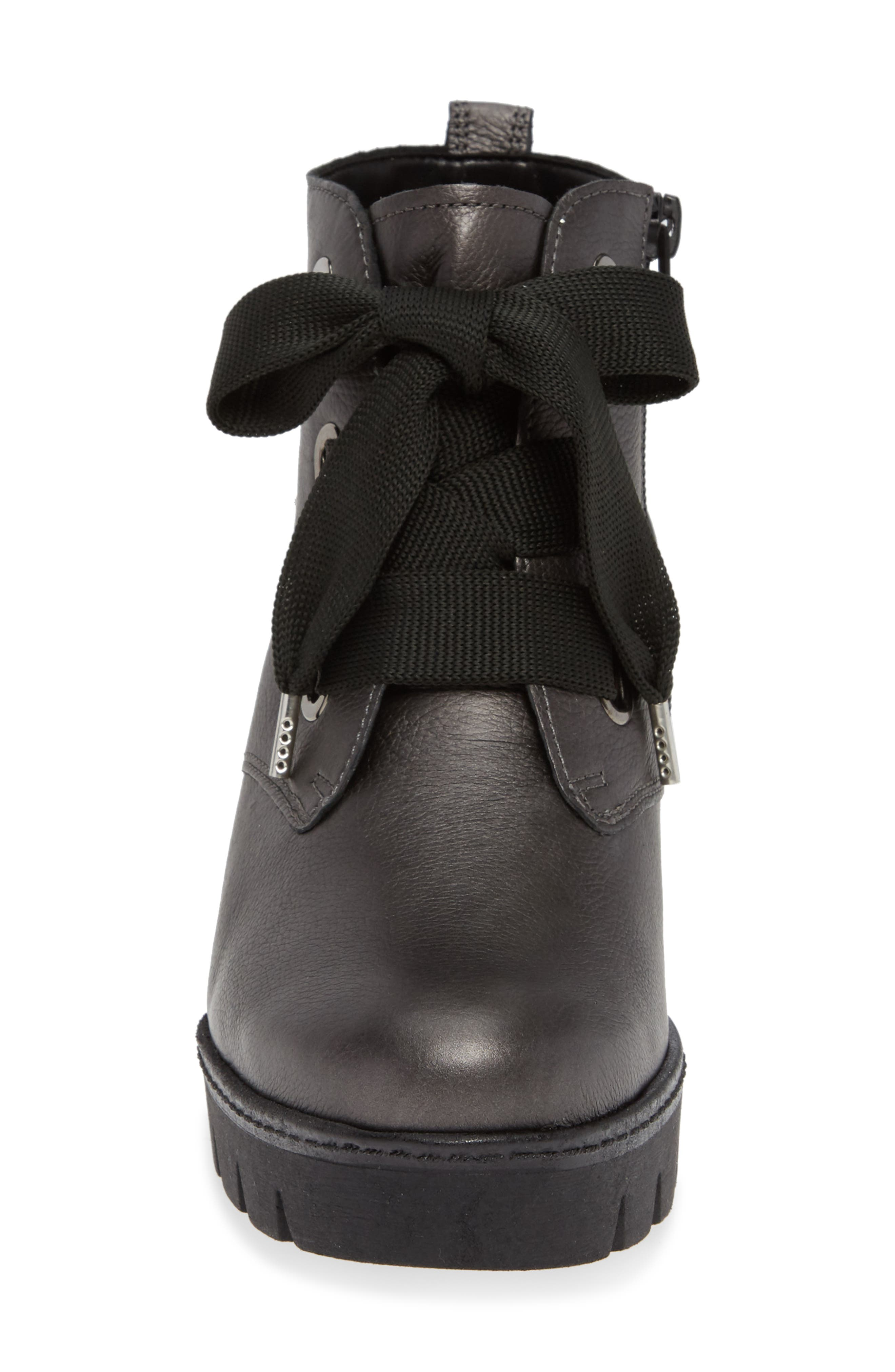 ,                             Friendly Wedge Bootie,                             Alternate thumbnail 4, color,                             GREY LEATHER