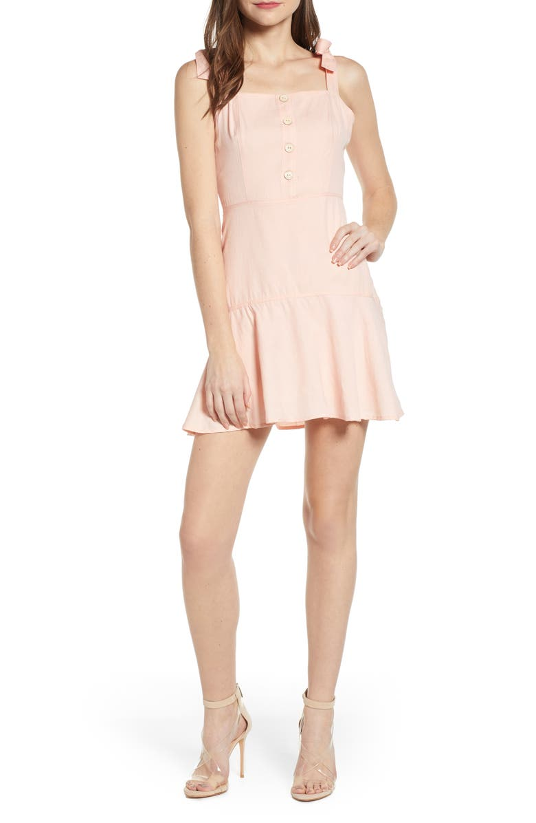 4SI3NNA Tie Strap Fit & Flare Minidress, Main, color, PINK