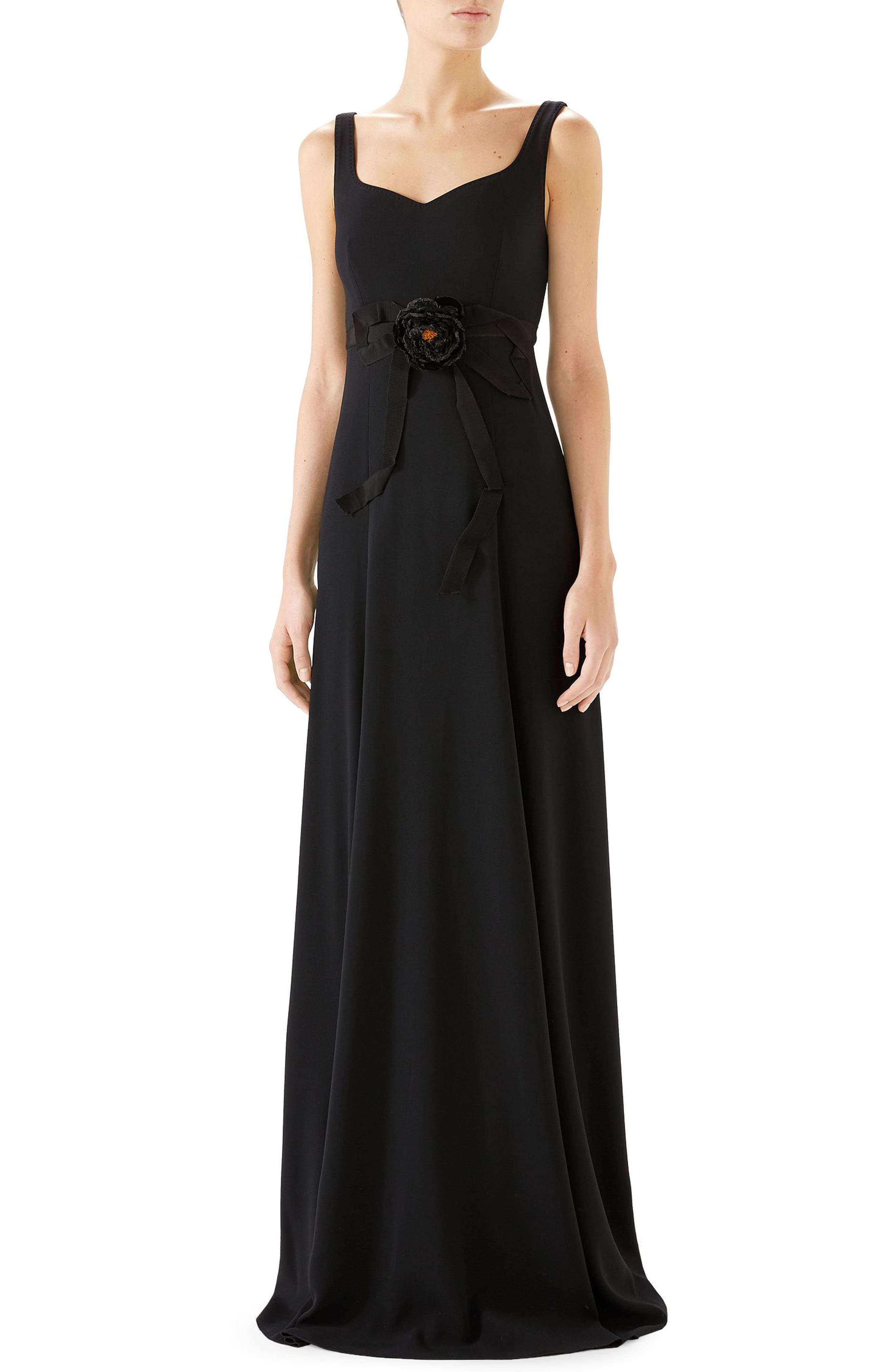 Gucci Bow Embellished A-Line Gown, Black