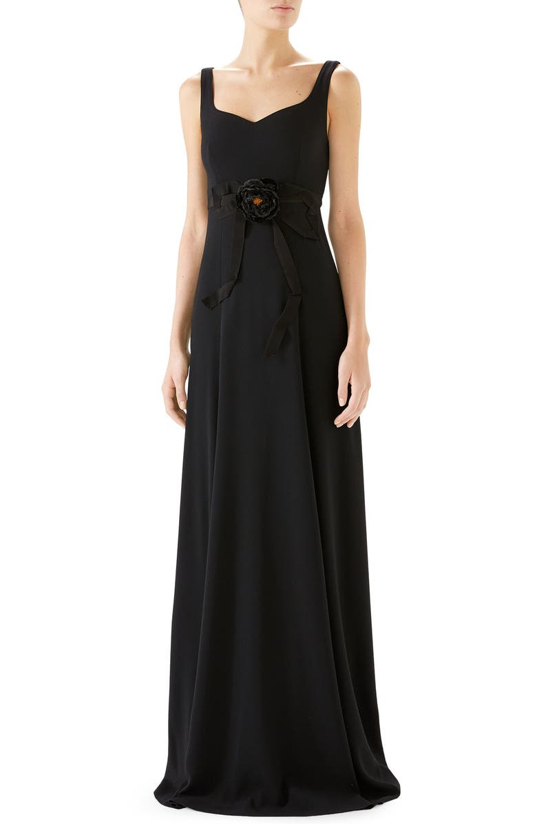 GUCCI Bow Embellished A-Line Gown, Main, color, BLACK