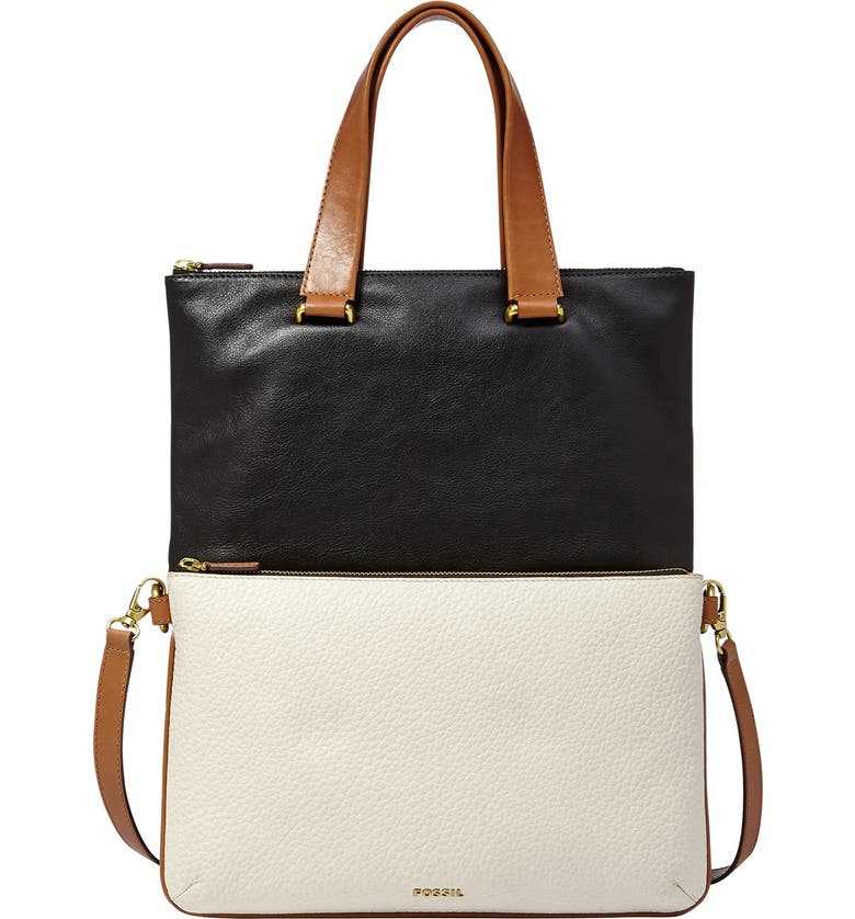 FOSSIL 'Memoir - Anthology' Colorblock Foldover Leather Tote, Main, color, 001
