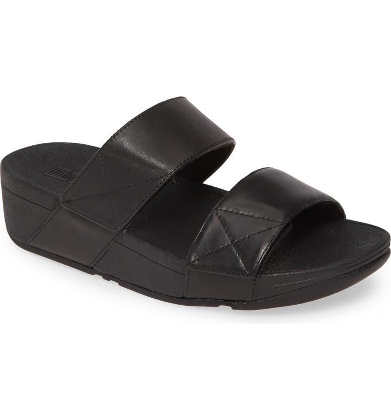 FITFLOP Mina Slide Sandal, Main, color, ALL BLACK LEATHER