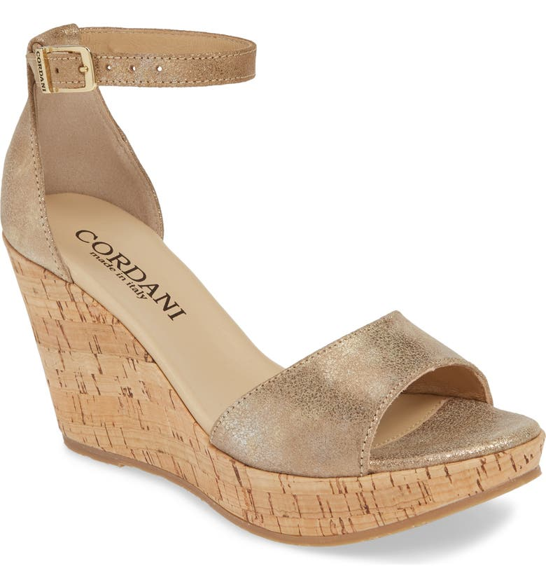 CORDANI Cork Wedge Sandal, Main, color, DUSTY GOLD SUEDE