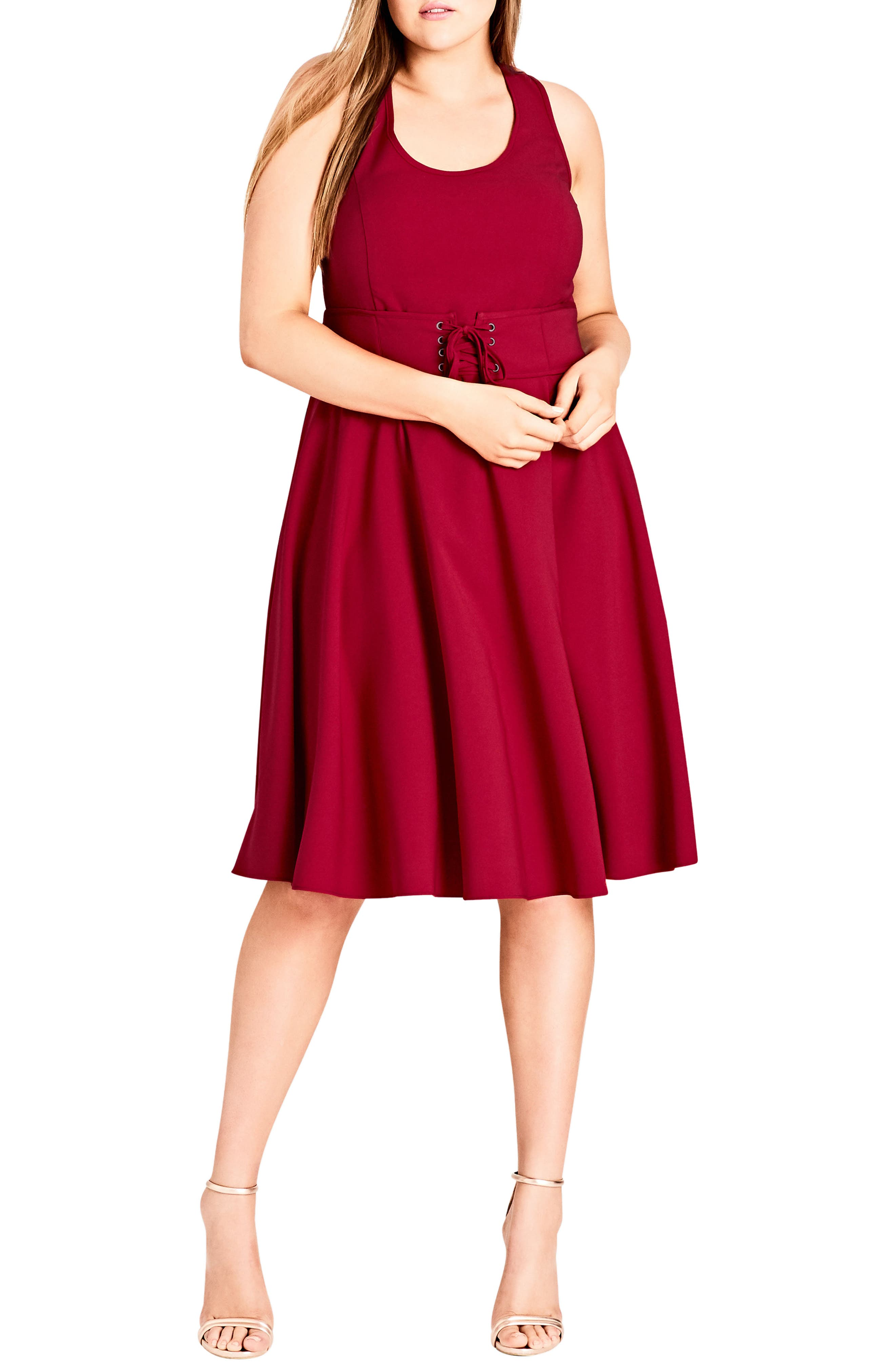 Plus Size City Chic Corset Waist Fit & Flare Dress, Red