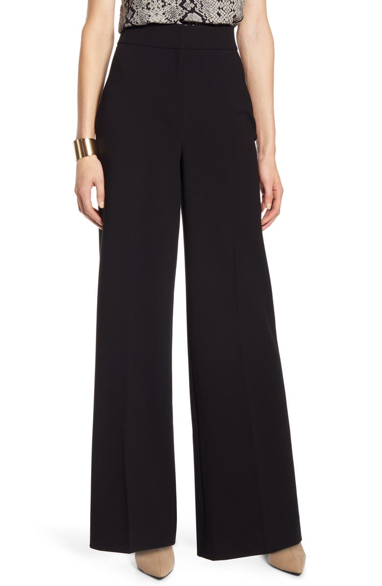 HALOGEN<SUP>®</SUP> High Waist Wide Leg Stretch Twill Pants, Main, color, BLACK