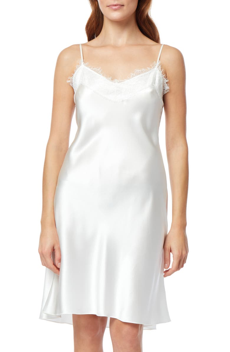 THE WHITE COMPANY Lace Trim Silk Chemise, Main, color, IVORY