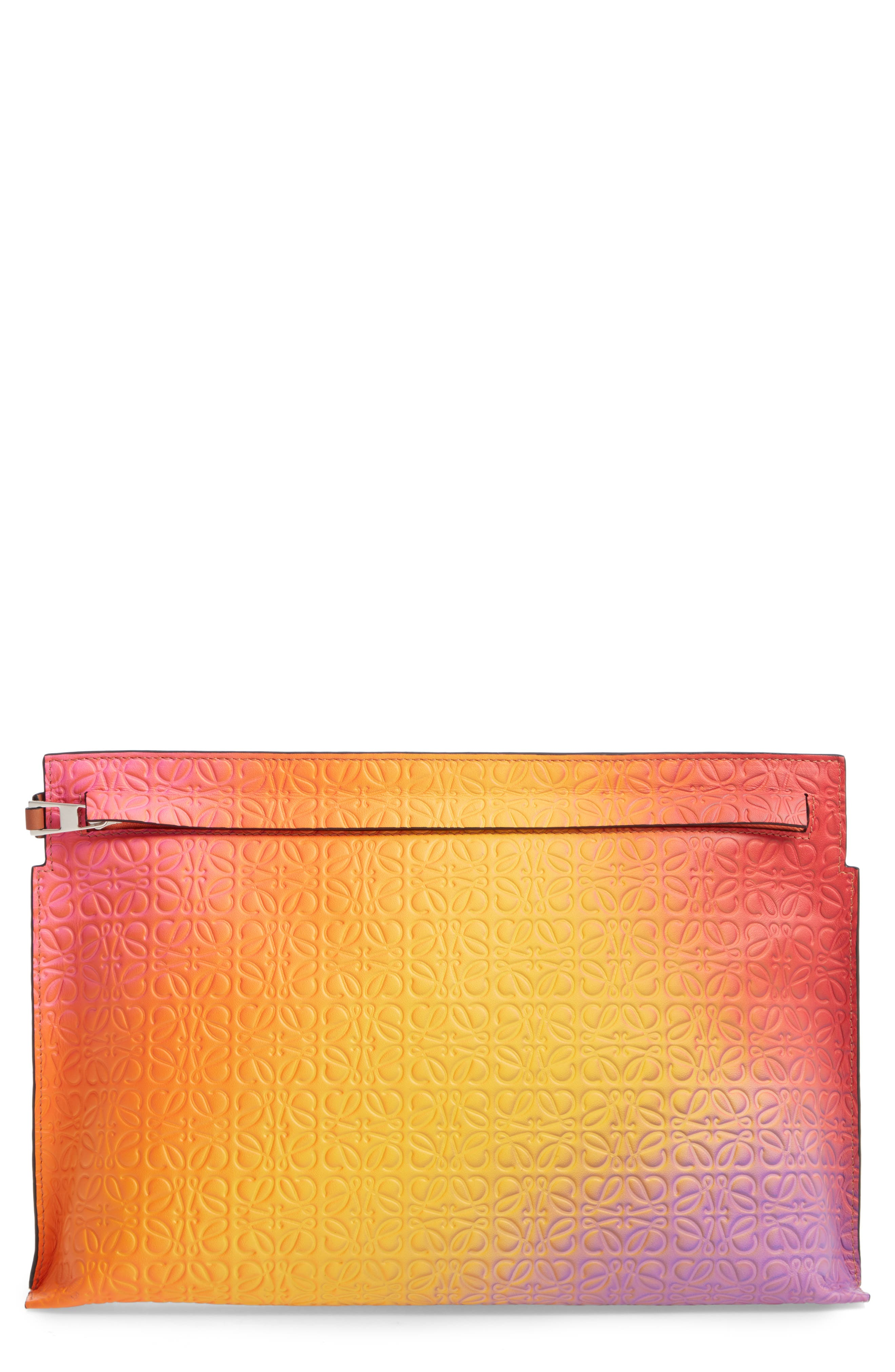 ,                             Repeat Spray Calfskin Leather T Pouch,                             Main thumbnail 1, color,                             ORANGE SUNSET