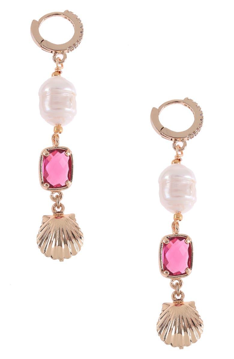 NAKAMOL CHICAGO Pearl Drop Huggie Hoop Earrings, Main, color, PINK MIX