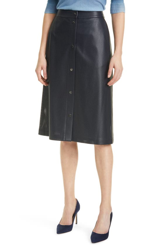 Hugo Boss Leathers VEFY PERFORATED FAUX LEATHER SKIRT