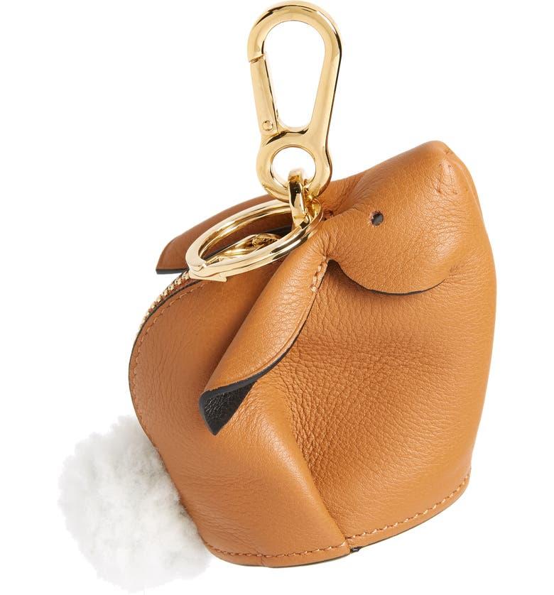LOEWE Bunny Bag Charm with Genuine Shearling, Main, color, 250