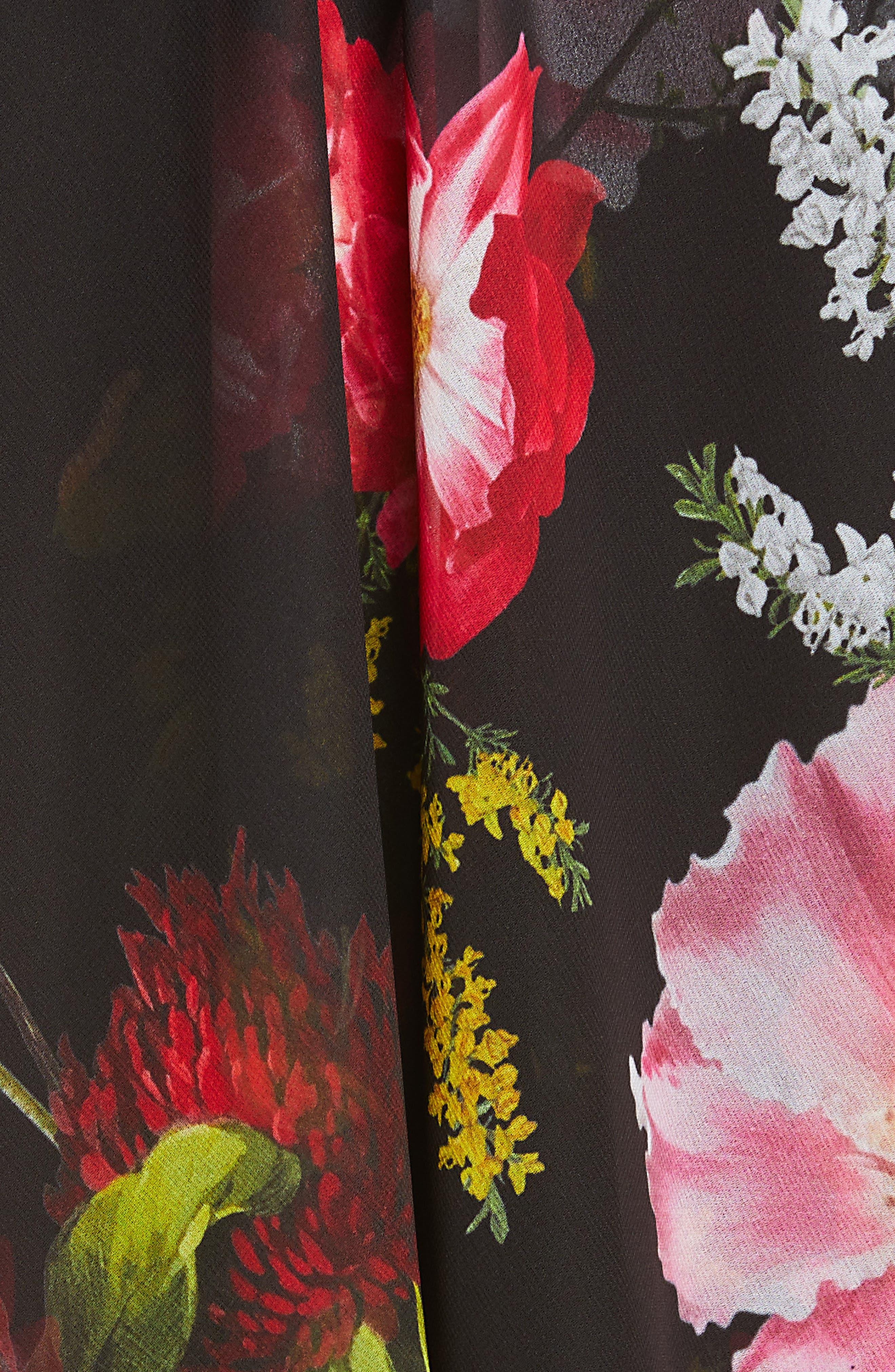 ,                             Ritta Floral Ruffle Midi Skirt,                             Alternate thumbnail 5, color,                             BLACK