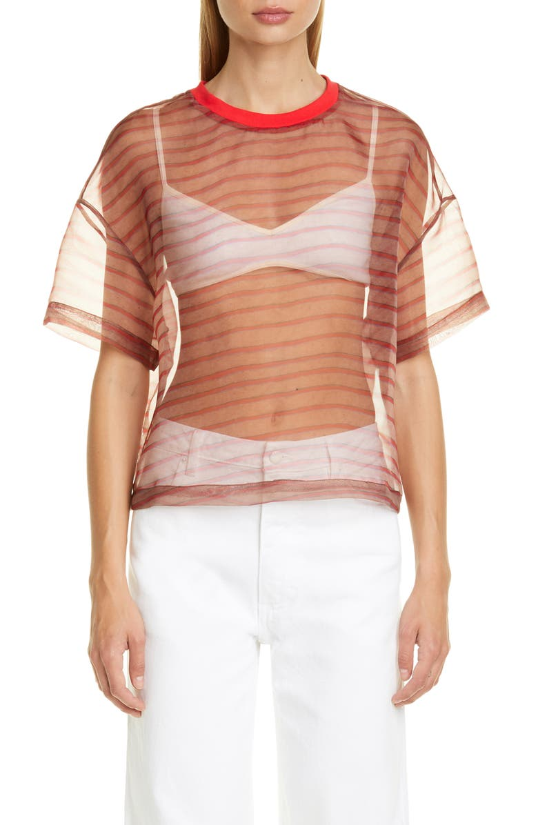ECKHAUS LATTA Digital Sheer Organza Top, Main, color, RED BROWN STRIPE