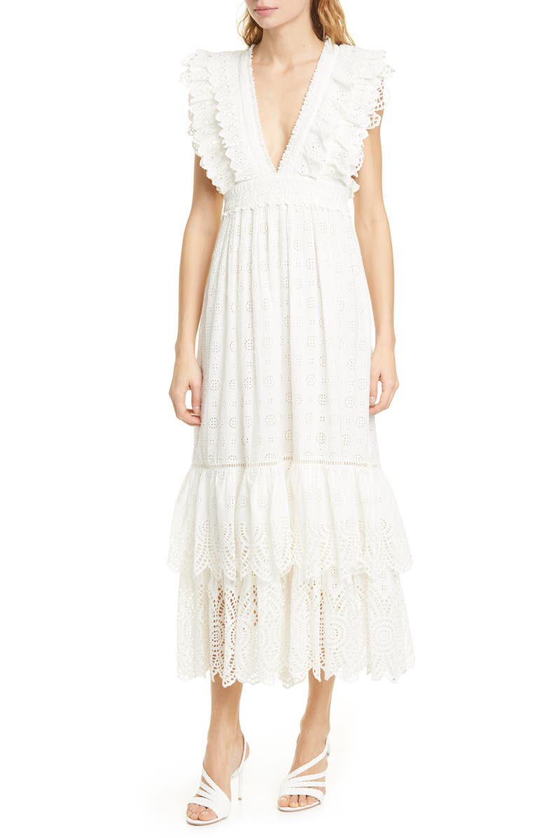 ULLA JOHNSON Demna Broderie Anglaise Maxi Dress, Main, color, 900