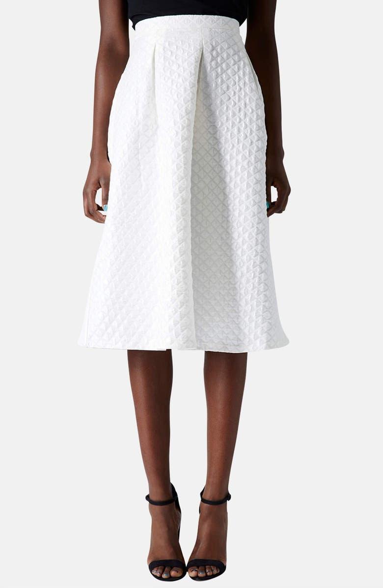 TOPSHOP Diamond Jacquard Midi Skirt, Main, color, 100