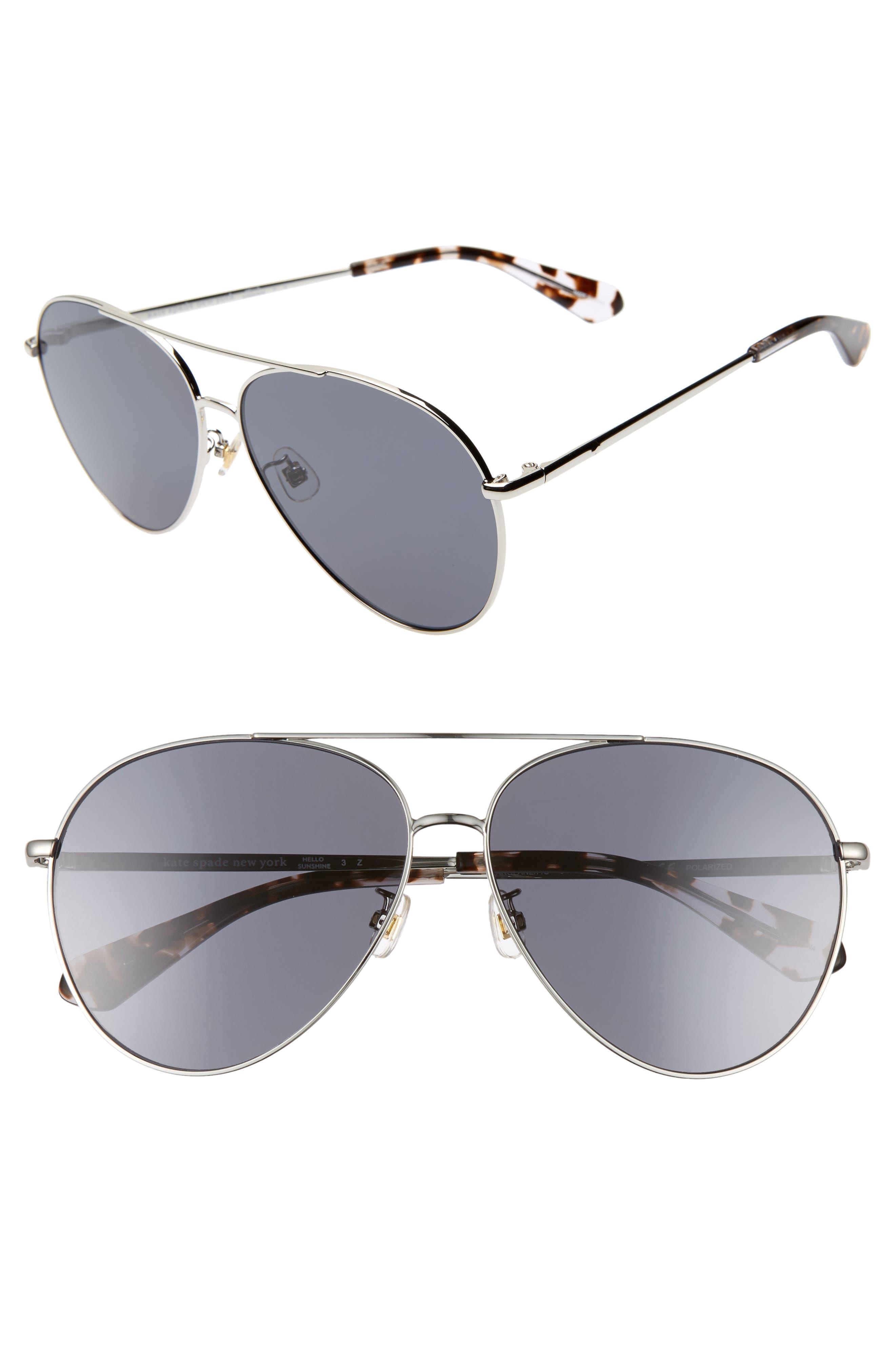 Image of kate spade new york carolane 61mm special fit polarized aviator sunglasses