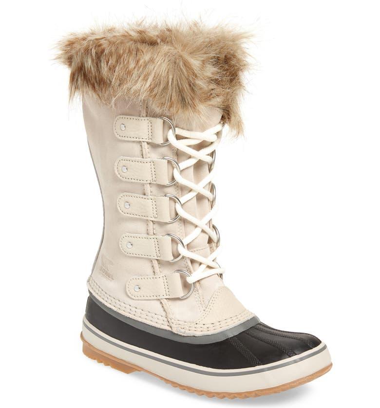 SOREL Joan of Arctic Faux Fur Waterproof Snow Boot, Main, color, DARK STONE SUEDE