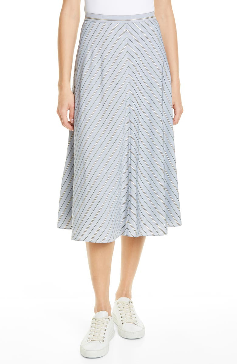 LEWIT Chevron Midi Skirt, Main, color, BLUE- GREY STRIPE