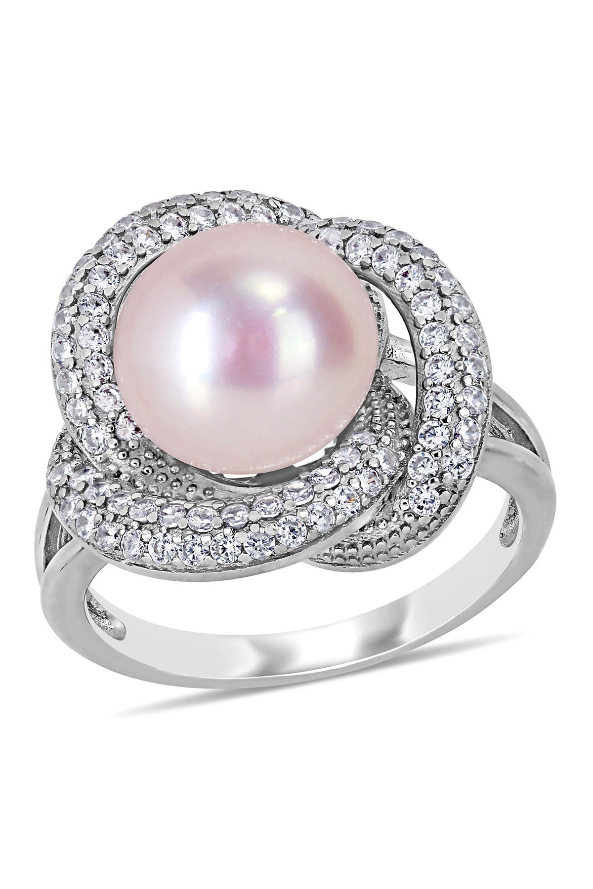 Image of Delmar Sterling Silver 10.5-11mm Pink Freshwater Cultured Pearl & CZ Fashion Ring