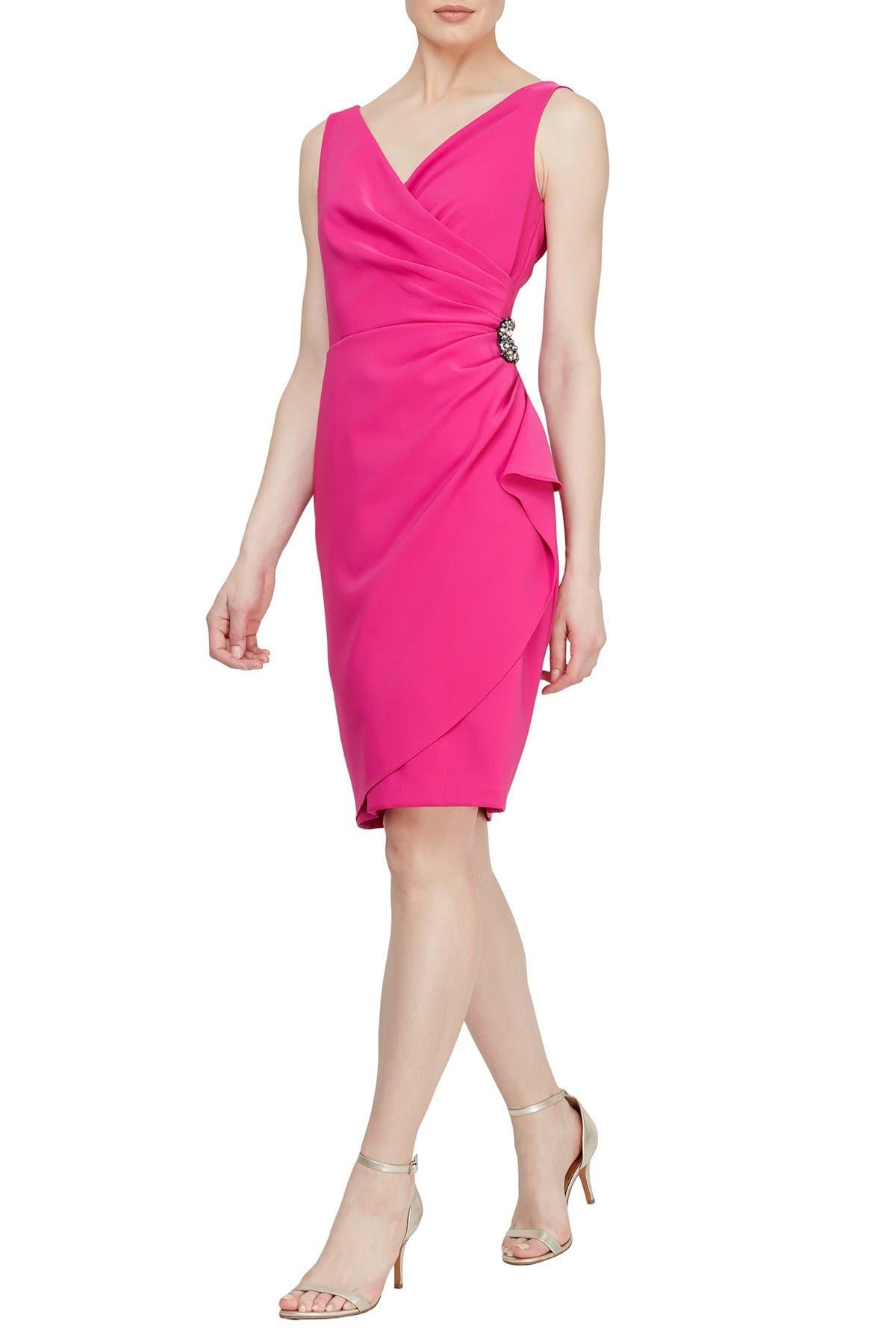 Image of SLNY V-Neck Embellished Side Gathered Dress