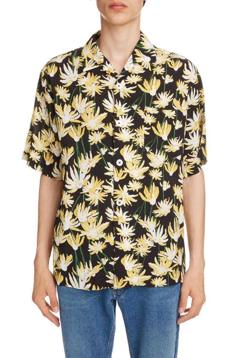 LOEWE Daisy Print Bowling Shirt, Main, color, BLACK/ YELLOW