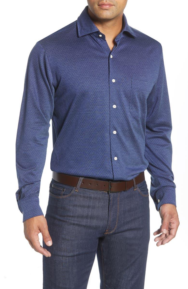 PETER MILLAR Diamond Neat Regular Fit Button-Up Short, Main, color, NAVY