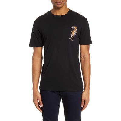 French Connection Tiger Applique T-Shirt, Black