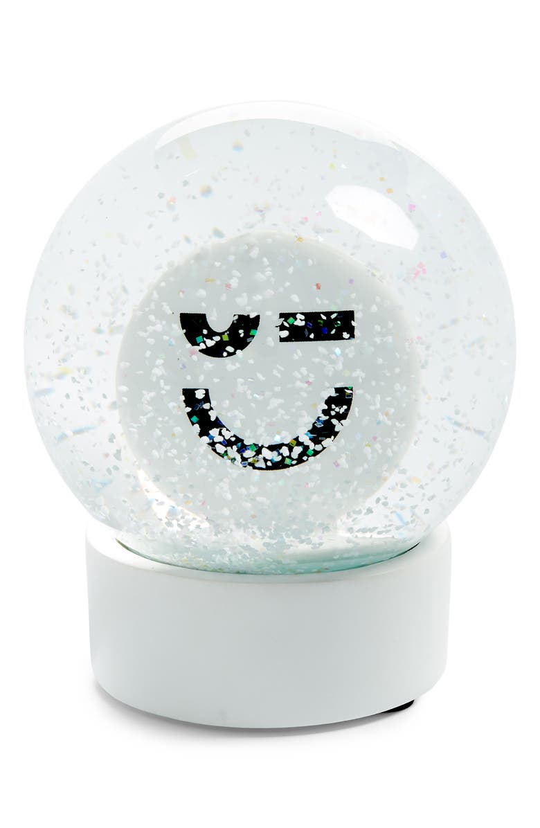 NORDSTROM Smiling Snow Globe, Main, color, WHITE PLACED SMILE