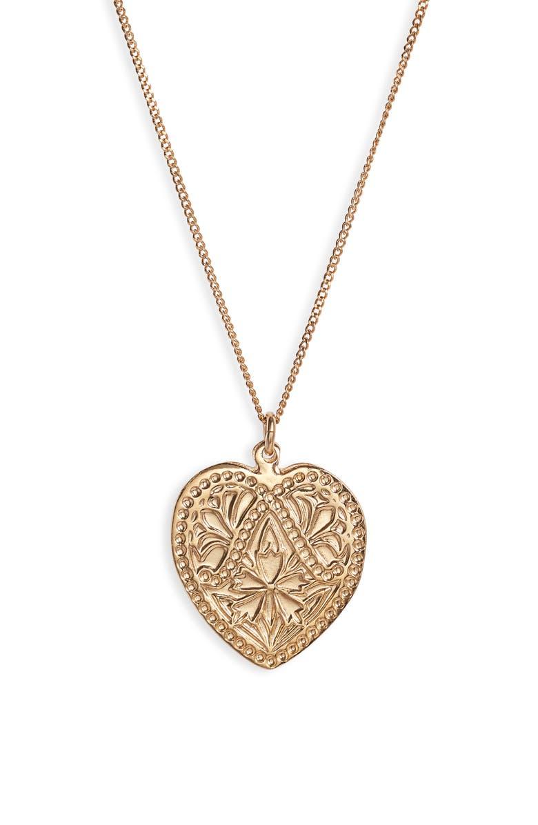 GAS BIJOUX Ecusson Heart Pendant Necklace, Main, color, 710