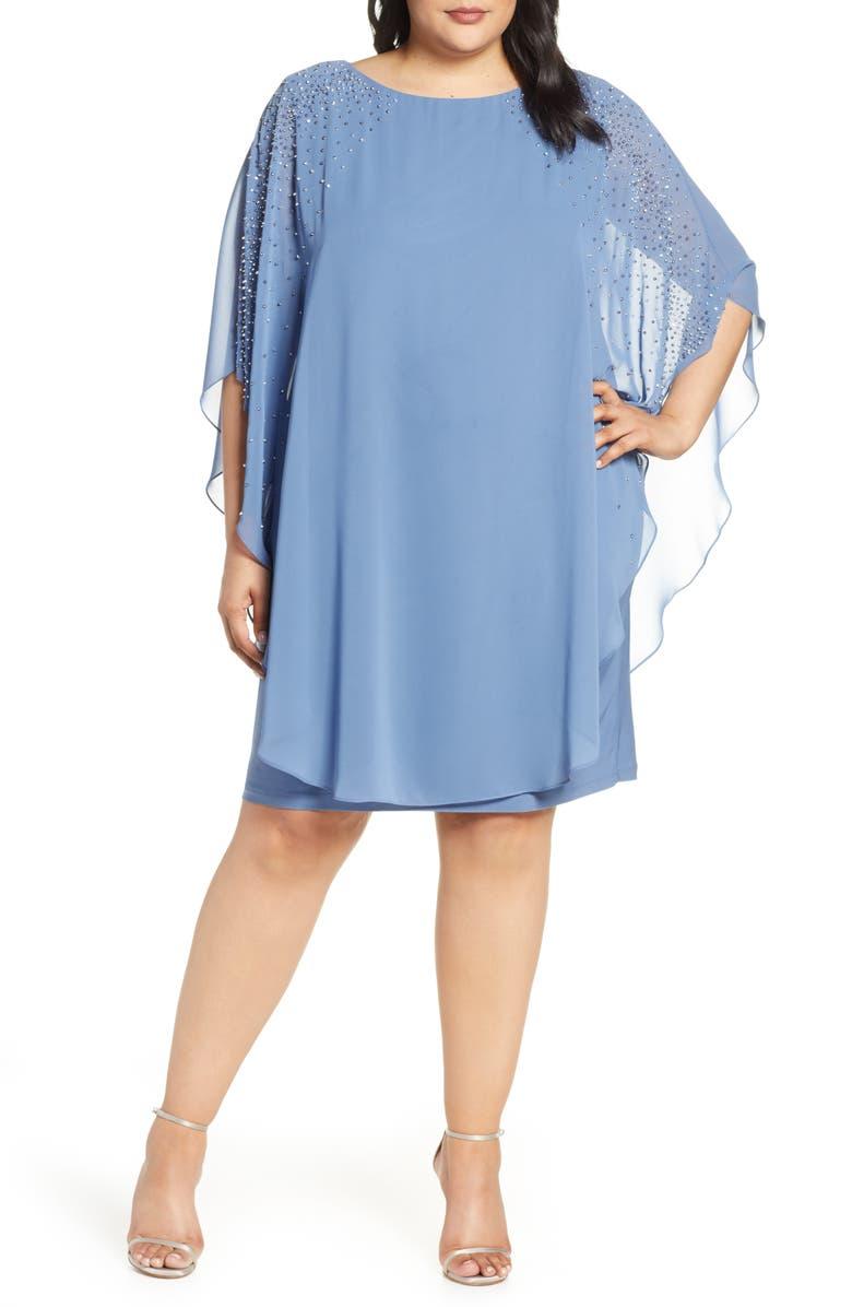 XSCAPE Beaded Chiffon Overlay Dress, Main, color, PERIWINKLE
