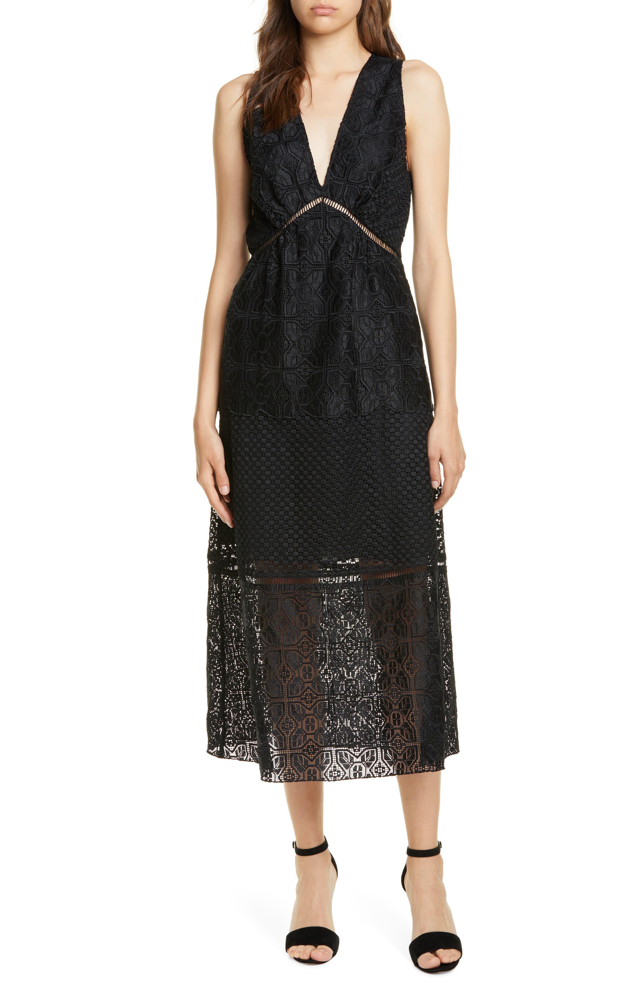 Joie Ardal Lace Dress, Black