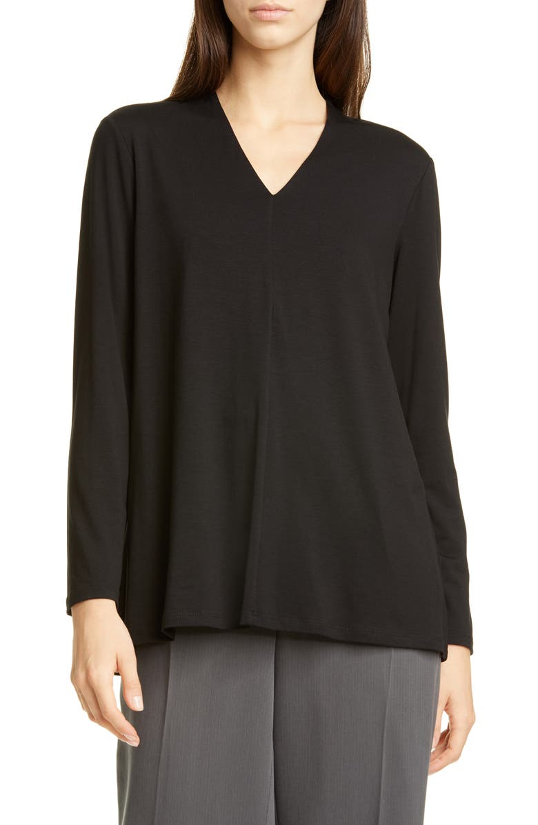 EILEEN FISHER V-Neck Swing Top, Main, color, BLACK