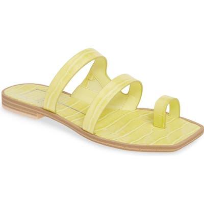Dolce Vita Isla 3 Croc Textured Slide Sandal- Yellow